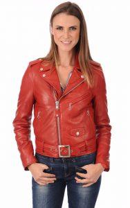perfecto en cuir rouge femme